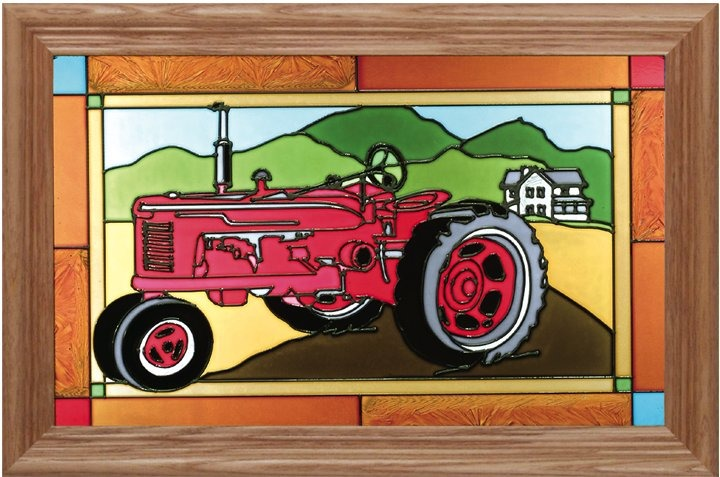 Artistic Gifts Art Glass i036 Red Tractor Horizontal Panel