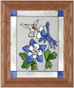 Artistic Gifts Art Glass A001 Hummingbird & Blue Columbine Vertical Panel