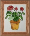 Silver Creek Art Glass A005 Geraniums in Terra Cotta Pot Vertical Panel