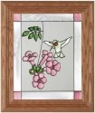 Artistic Gifts Art Glass A008 Hummingbird with Pink Blossoms Vertical Panel