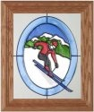 Silver Creek Art Glass A015 Skier on Mountain Red Jacket Vertical Panel