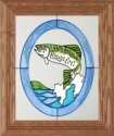 Silver Creek Art Glass A022 Rainbow Trout Vertical Panel