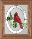 Artistic Gifts Art Glass A024 Cardinal Oak Leaves Vertical Panel