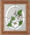 Silver Creek Art Glass A025 Dogwood Blossoms Oval Vertical Panel