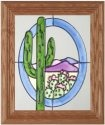 Silver Creek Art Glass A028 Cactus Desert Vertical Panel