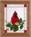 Artistic Gifts Art Glass A047 Cardinal & Berries Vertical Panel