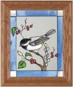 Artistic Gifts Art Glass A048 Chickadee Vertical Panel