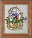 Silver Creek Art Glass A058 Pansy Basket Vertical Panel