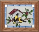 Artistic Gifts Art Glass A063 Finches & Birdhouse Horizontal Panel