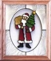Silver Creek Art Glass A101 Jolly Old St. Nick Vertical Panel