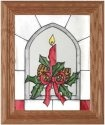 Silver Creek Art Glass A102 Yuletide Candle Aglow Vertical Panel
