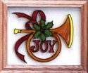 Artistic Gifts Art Glass A104 Joy Holiday Horn Horizontal Panel