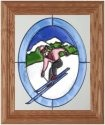 Silver Creek Art Glass A115 Skier on Mountin Pink Jacket Oval Vertical Panel