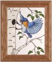 Artistic Gifts Art Glass A201 Bluebird in Birch Vertical Panel