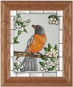 Artistic Gifts Art Glass A202 Robin with Cherry Blossoms Vertical Panel
