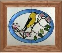 Artistic Gifts Art Glass A209 Goldfinch in Oval Horizontal Panel