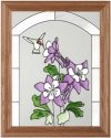 Artistic Gifts Art Glass B001 Hummingbird Purple Columbine Vertical Panel