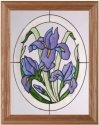 Silver Creek Art Glass B009 Wild Iris Oval Vertical Panel