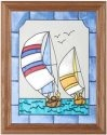 Silver Creek Art Glass B014 Sailboats Vertical Panel