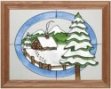 Silver Creek Art Glass B022 Wilderness Cabin in Winter Horizontal Panel