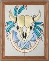 Silver Creek Art Glass B030 Southwest Motif Skull Vertical Panel