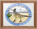 Artistic Gifts Art Glass B033 Roadrunner in Oval Horizontal Panel