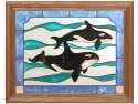 Artistic Gifts Art Glass B034 Killer Whales Panel