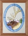 Artistic Gifts Art Glass B035 Elk Head in Oval Vertical Panel