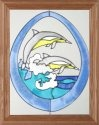 Silver Creek Art Glass B040 Dolphin in Oval Vertical Panel
