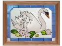 Artistic Gifts Art Glass B048 Bird Swan Panel