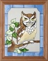 Artistic Gifts Art Glass B051 Screech Owl Vertical Panel