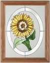 Silver Creek Art Glass B056 Sunflower in Oval Vertical Panel