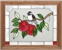 Artistic Gifts Art Glass B059 Chickadee & Apples Horizontal Panel