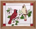 Artistic Gifts Art Glass B078 Cardinal Pair Horizontal Panel