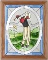 Silver Creek Art Glass B083 Golfer Man Vertical Panel