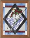 Silver Creek Art Glass B087 Skier in Black Diamond Vertical Panel