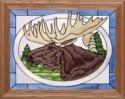 Artistic Gifts Art Glass B089 Moose In Oval Horizontal Panel