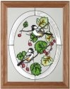 Artistic Gifts Art Glass B091 Chickadee in Oval Vertical Panel