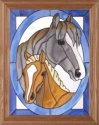 Artistic Gifts Art Glass B096 Horse with Colt in Oval Vertical Panel