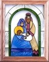 Artistic Gifts Art Glass B100 Nativity Beneath Arch Vertical Panel
