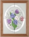Silver Creek Art Glass B122 Blossoms in Oval Vertical Panel