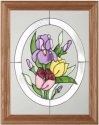 Silver Creek Art Glass B123 Tulips in Oval Vertical Panel