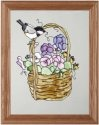 Artistic Gifts Art Glass B125 Chickadee & Basket Vertical Panel