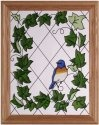 Artistic Gifts Art Glass B126 Bluebird & Trailing Ivy Vertical Panel