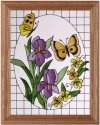 Artistic Gifts Art Glass B130 Butterflies with Iris in Oval Vertical Panel