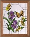 Artistic Gifts Art Glass B131 Butterflies & Irises Vertical Panel