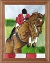 Artistic Gifts Art Glass B201 Hunter Jumper Vertical Panel