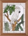 Artistic Gifts Art Glass B204 Cockatoo in Tropical Foliage Vertical Panel