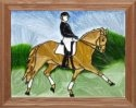 Artistic Gifts Art Glass B211 Horse with Rider Horizontal Panel