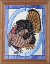 Artistic Gifts Art Glass B213 Turkey in Oval Vertical Panel